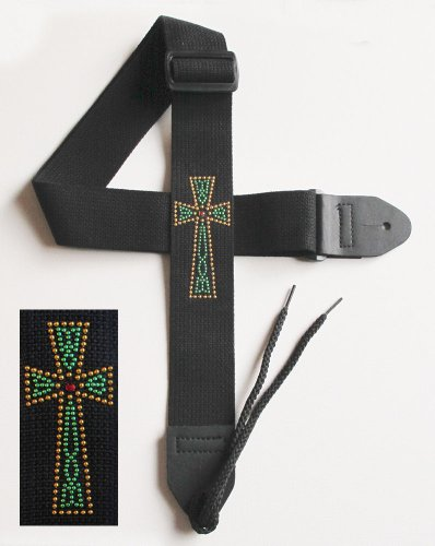 Legacystraps Christian RS Guitar Strap with Metal Studded Celtic Cross W/Ruby Red Center