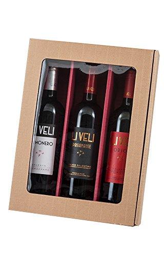 5 Stück Set! Neutraler 3er Weinpräsentkarton mit Sichtfenster. Geschenkkarton für 3 Flaschen Wein, außen Natur, innen Rot, Folienfenster im Deckel. Exklusiver Präsentkarton für Ihr Weingeschenk