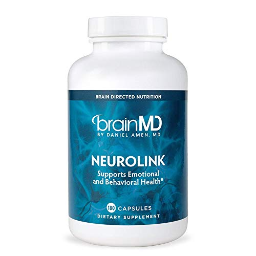 Dr. Amen brainMD NeuroLink - 180 Capsules - Stress Relief & Mood Support Supplement, Promotes Optimal Brain Function, Focus & Concentration - Gluten-Free - 45 Servings
