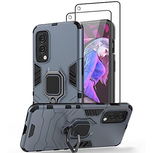 Jusy Hülle für OnePlus Nord 2 5G Handyhülle mit Ständer & Magnetplatte, mit 2 Stück Panzerglas Schutzfolie, Stoßfester, Militärischer Ringhalter Schutzhülle für OnePlus Nord 2 5g(Navy)