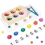 ZJHGQ Juego de tablero de cuentas de madera con clip para rompecabezas de clasificación de colores, juego de mesa Montessori juguetes para niños y niñas
