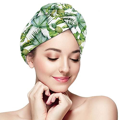 Toalla de secado de pelo para mujer, turbante con botón de acuarela, hojas tropicales y piña, gorro de baño de microfibra absorbente suave para cabello largo y rizado