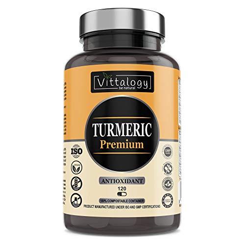 Vittalogy Turmeric Premium. Cápsulas de Cúrcuma Ecológica Con Jengibre y Pimienta, Harpagofito Y Vitamina C. Antioxidante Y Antiinflamatorio Natural. 120 Cápsulas