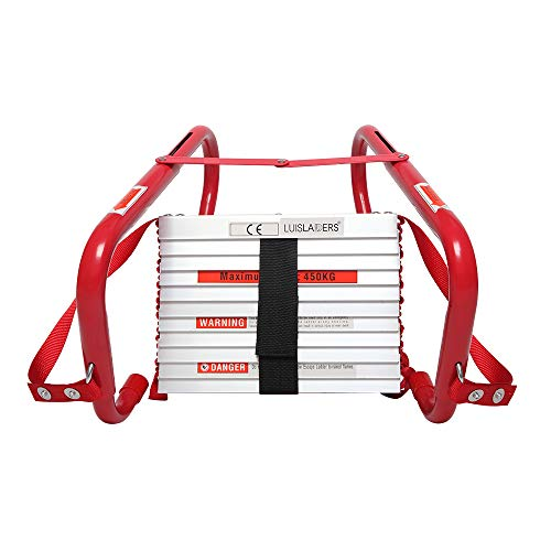 LUISLADDERS Fire Escape Ladder 2 Story with Anti-Skid Rungs Portable Emergency Escape Ladder, Easy to Deploy & Store 15- Feet