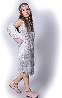 Girl 's Fashion Flapper Satin Dress Costume for Children