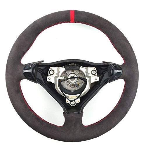 Lenkrad aus schwarzem Wildleder, roter Stich auf Wickelabdeckung , Passend für Porsche 911 986 996 Carrera Boxster S