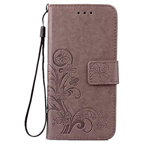 Luxus Tasche für iPhone SE 2020 4.7 iPhone 8 & iPhone 7 4.7 Hülle Außenseite aus Echt Leder Innenseite aus Textil Schutz Hülle seitlich aufklappbar Ultra Slim Cover Hülle Four Leaves Clover (Graue)