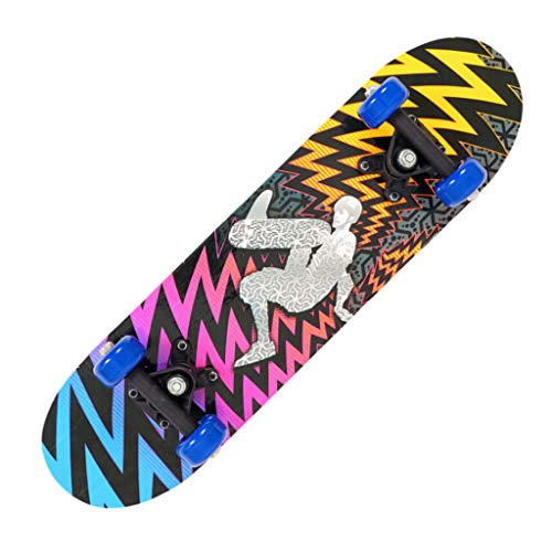 LianMengMVP Monopatín para Niños Principiantes Monopatín de Cuatro Ruedas Monopatín de Arce Doble Balancín Deportes Extremos al Aire Libre DIY Skateboard 17 Pulgadas Skateboarder Regalos Niños