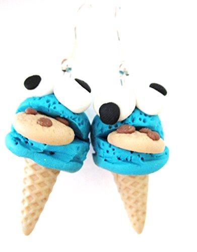 Eis Ohrringe Monster mit Keks Ohrhänger Waffeleis handmodelliert