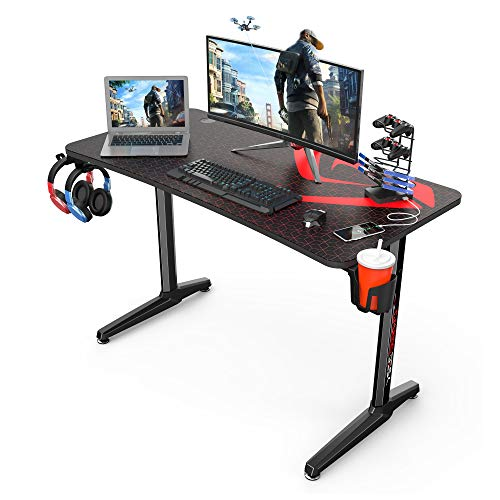 Eureka Ergonomic Gaming Desk, 47 inch Home Office Computer PC Gamer Desk Table with Full Mouse Pad, Black