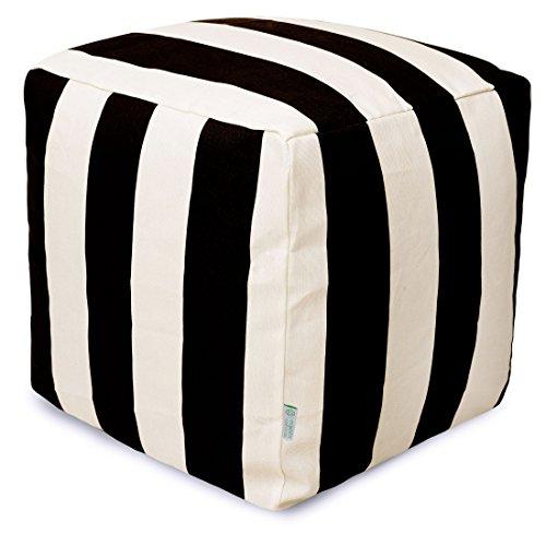 "Majestic Home Goods Black Vertical Stripe Indoor / Outdoor Bean Bag Ottoman Pouf Cube 17"" L x 17"" W x 17"" H"