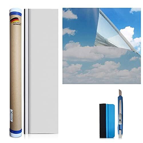 X-Solutions® | Sonnenschutz Folie | Spiegelfolie Selbstklebend | Selbsthaftend, Silber reflektierende Fensterfolie | UV-Schutz Sonnenschutzfolie Fenster innen oder außen | Sichtschutz | 60 x 200 cm