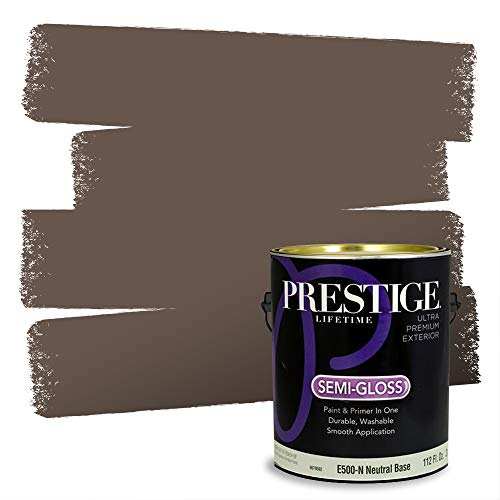 PRESTIGE Paints Exterior Paint and Primer In One, 1-Gallon, Semi-Gloss, Comparable Match of Benjamin Moore Clinton Brown