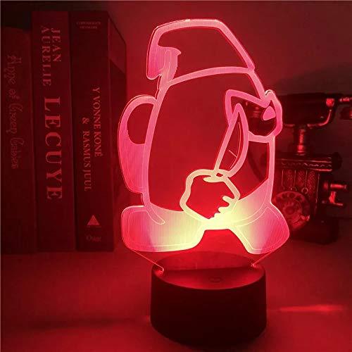 KKP Among Us Lampara 3D, Lampara Infantil Nocturna 7 Colores del Impostor Entre Nosotros, Iluminación de escritorio Peluche Among Us