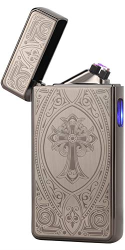 Tenfel 電子ライター USB 充電 ターボライター 防風 スパック点火 電気 プラズマ 高級 ライター クロスアーク