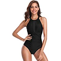 SHEKINI Traje de Baño de Una Pieza Mujer Halter Elegante Trajes de Baños para Mujer Alta Cintura Push Up con Aro(XX-Large, Negro)