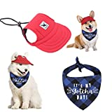 AOCZZ Dog Baseball Cap, Adjustable Dog Outdoor Sun Hat, Visor Cap with Ear Holes and Chin Strap for Dogs and Cats, Summer Hat with Bandana for Small Medium Large Dogs(Red,L)