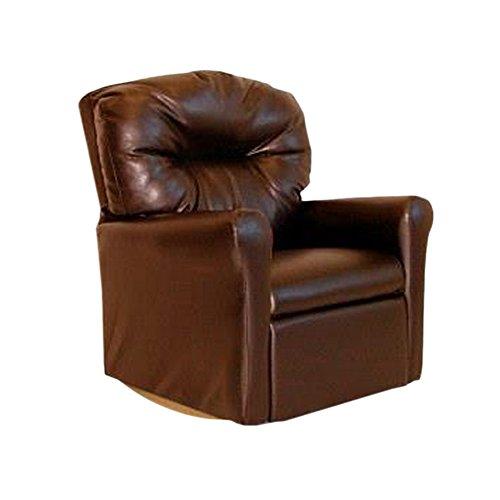 Dozydotes Child Rocker Recliner Contemporary Pecan Brown Leather DZD11531