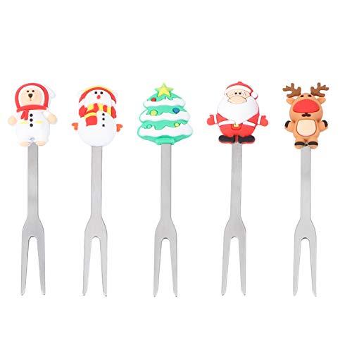 Hemoton 5 Stück Weihnachts Vorspeisen Dessert Gabel Edelstahl Obst Picks Santa Geformte Salat Cocktail Gabel Zahnstocher für Weihnachten Weihnachtsfeier (Sortiertes Muster)