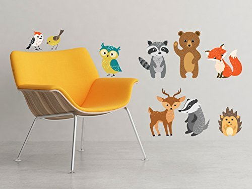 Sunny Decals Forest Animals with Birds, Owl, Bear, Fox, Deer Wall Decal - Removable Fabric Kids Wall Sticker