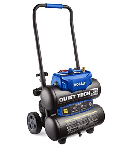 Kobalt Quiet Tech 4.3-Gallon Portable Electric Twin Stack Quiet Air Compressor