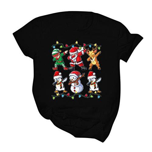 LOPILY Weihnachtspullover Damen Lustig Weihnachtsshirts Locker Hässlicher Weihnachtsshirts Kurzarm mit Santa Claus Christmas Pullover Weihnachtsbluse Vintage Strickpulli (Schwarz, 3XL)