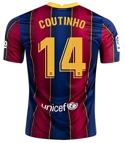 ARCADI 2020-2021 Men's Home Soccer Jersey/Short Colour Red/Blue (Barcelona Coutinho #14 (S))