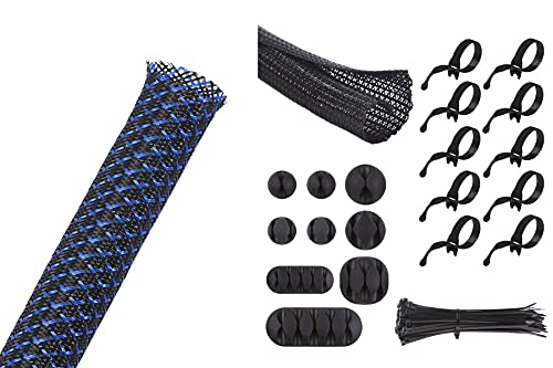 Alex Tech 100ft - 3/8 inch Expandable Sleeving BlackBlue and 10ft - 1/2 inch Split Sleeving Black, 9 Pieces Cable Clips, 10 Pieces Reusable Cable Ties, 50 Pieces 8 inch Nylon Cable Ties