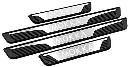 ABSM-L 4 Teile/Satz Auto Edelstahl Türschweller Einstiegsleiste für Vauxhall Opel Mokka 2013-2015, Kratzfestes BegrüßUng spedal Aufkleber ZubehöR