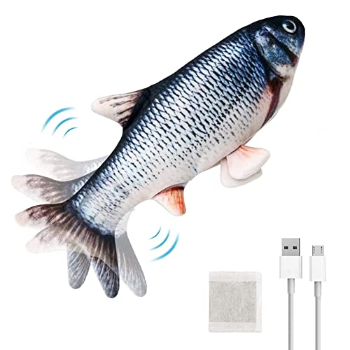 Waklyte Electric Moving Fish Cat Toy, Realistic Flopping Fish, Plush Interactive Cat Toy, Wiggle Fish Catnip Toy, Fun Chew Bite Kick Toy for Cat Exercise