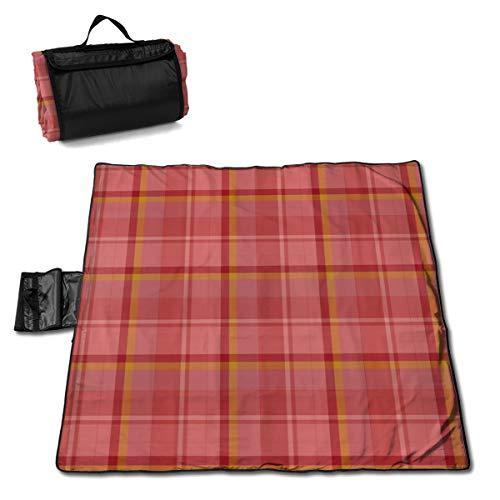 Picknickdecke mit warmen Farbtönen, Apricot Plaid – Outdoor-Picknickdecke, waschbar, faltbar, wasserdicht, für Picknick, Camping, Strand, große Größe 144,8 x 149,9 cm