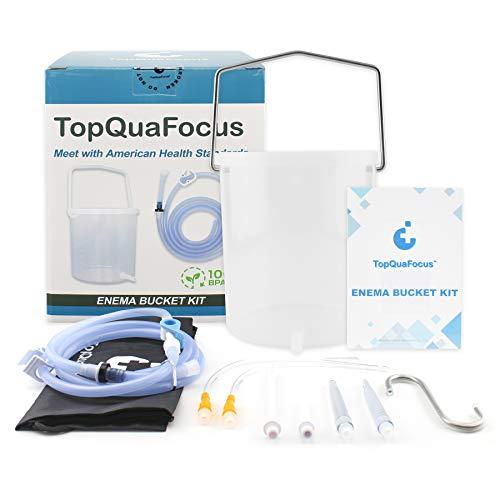 TopQuaFocus Plastic Enema Bucket Kit for Home Coffee Enema, Coffee Enema Kit with 14FR 8.8inch Long Colone Tube for Deep Colon Detox Cleanse, Clear Bucket Coffee Enema 2 Quart BPA-Free