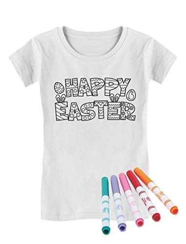 Happy Easter Coloring Kit with Fabric Markers Girls' Fitted Kids T-Shirt M (7-8) White