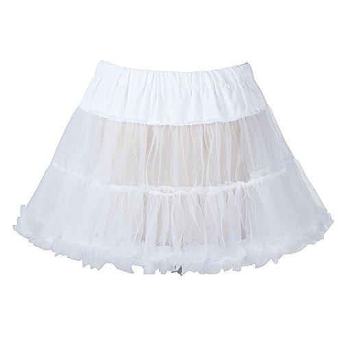 """18"""" 50s Retro Underskirt Swing-Klassiker Mini Petticoat Fancy Net Rock Rockabilly Tutu Oktoberfest Kleid Weiss,Größe S-M (EU 32-40)"""