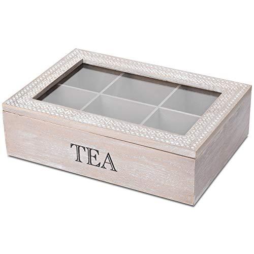 Caja de té con ventana y 6 compartimentos, 24 x 17 x 7 cm, color natural/blanco, caja de almacenamiento de madera