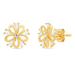 14K Solid Yellow Gold Tapered Baguette CZ Floral Stud Earring