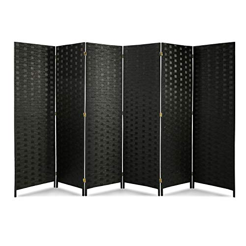 oneinmil 6ft Tall Folding Room Divider, Freestanding 6 Panels Room Divider, Double Hinged Privacy Panel Screens, Made from Paper Vine Solid Wood, Black