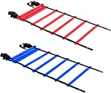 2 Pack 20ft Agility Ladder (Blue and Red) – Speed Agility Training Ladder with Two Carry Bags