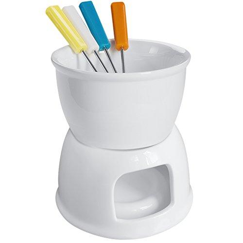 Tebery Juego de fondue con 4 tenedores de colores, porcelana de alta calidad para queso, chocolate y tapas, color blanco
