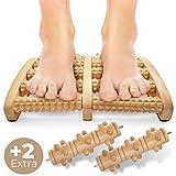 NEU: Fußmassageroller zur Entspannung und Stressreduzierung I Fußroller Holz ideal für Zuhause & Büro I Foot Massager zur Vorbeugung & Linderung von Schmerzen I Fußmassagegerät aus Holz