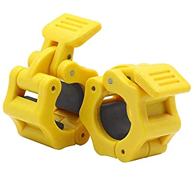 """Venyat 1 inch Barbell Clamps Olympic, 2 Pack Quick Release Barbell Collars, Locking Clamp for 25mm / 1"""" Standard Bar, Weight Plate, Workout Weightlifting, Fitness Training Exercise - Yellow"""