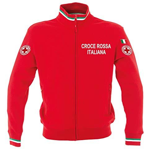 Generico Felpa Croce Rossa Ricamato (Modello Italia Tricolore - 100% Cotone) (M)
