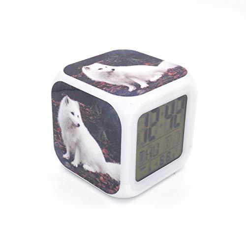 Boyan New White Arctic Fox Animal Led Alarm Clock Creative Desk Table Clock Multipurpose Calendar Snooze Glowing Led Digital Alarm Clock for Unisex Adults Kids Toy Gift