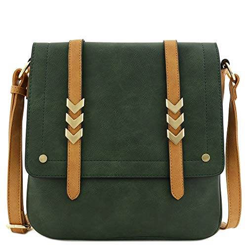 Double Compartment Large Flapover Crossbody Bag with Colorblock Straps Forest/Light Tan