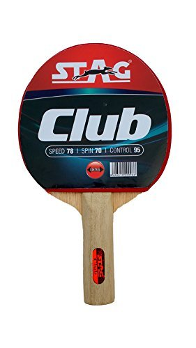 STAG Beginner ITTF Approved Rubber Club Table Tennis Racquet, 166 grams, Multicolour