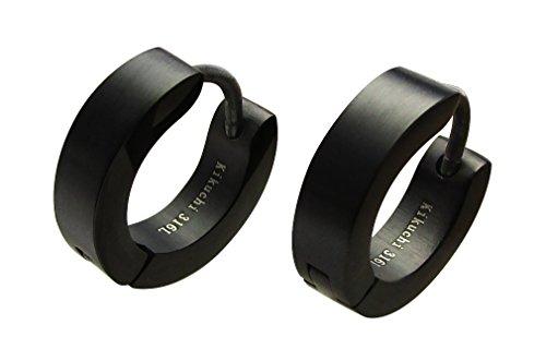 Kikuchi Pendientes de aro de titanio con varillas de acero inoxidable negro mate Huggie ERTS001