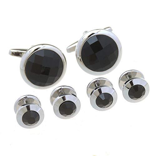 GOCF Camisa PULFER Enlaces Mancuermas y Tachuelas de Esmoquin en un Conjunto Formal de Caja de Regalo para la caseta de la ocasión. (Color : Black, Size : Free Size)