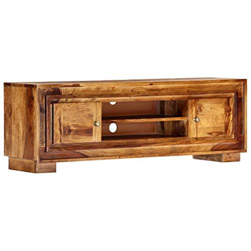 Festnight TV-Schrank mit 2 Türen und 2 Ablagefächern Konsole Lowboard Wohnzimmertisch Kaffeetisch Fernsehschrank 118 x 30 x 40 cm Massivholz Sheesham