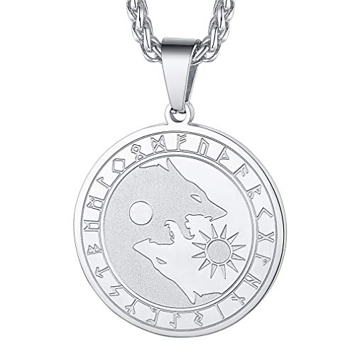 FaithHeart Lobo Yin Yang Nórdico Fenrir Colgante de Medalla Redonda Acero Inoxidable 316L para Hombres y Mujeres Sol y Luna
