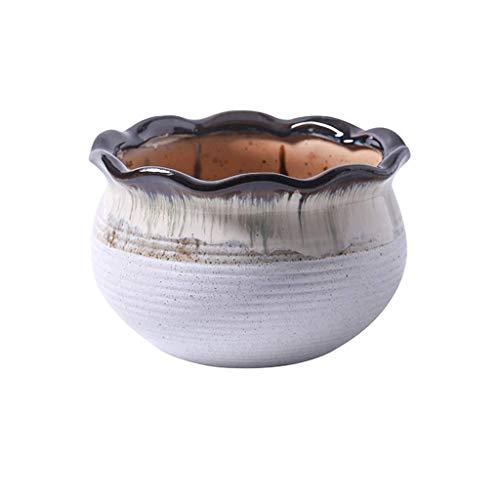 JSMY Pot de Fleur de Grand diamètre,Pot de Fleur Bas de Sol Entrée de Balcon Pot de Fleur de Salon Pots de plantes lourds respirants,Avec trous,ornements décoratifs Blanc/Bleu/Rouge